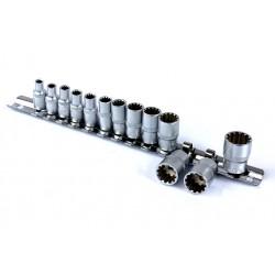 Klucze nasadowe TORX SPLINE 1/4 4-14mm na szynie 13el