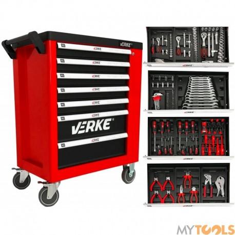 Szafka narzędziowa z wyposarzeniem 155el 7+1 wózek serwisowy -warsztat