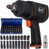 """Klucz udarowy pneumatyczny kompozytowy 1/2"""" 1550Nm BJC +Nasadki 10-19mm 20szt."""