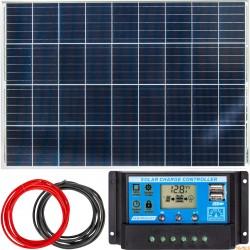 Zestaw solarny bateria słoneczna 100W (Panel solarny, Regulator napięcia)
