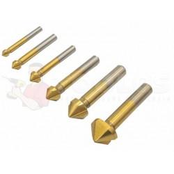 Frezy trzpieniowe HSS pogłębiacz stożkowy do metalu 6elem Złote