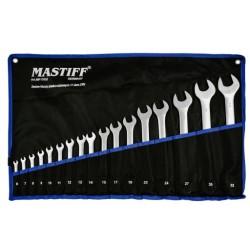 Zestaw kluczy płasko-oczkowych 6-32mm klucze 17 elem. + płachta MASTIFF